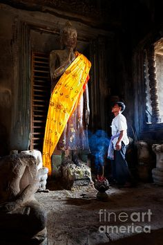 Angkor Wat Devotee Lights Incense In Buddha Temple - sacred photography art by #JoAnnTomaselli