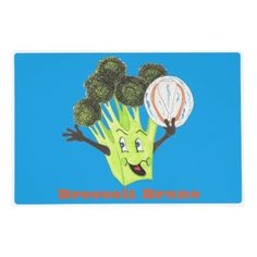 'Broccoli Bruno' Royal Blue Placemat Laminated Place Mat