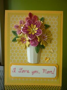 "Handmade Yellow Paper Quilling Card ""I Love you, Mom "" with Quilled Flowers and Butterfly (Mother's day, Birthday, Anniversary) by FromQuillingWithLove"