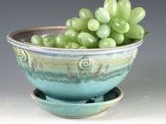Berry Bowl in turquoise - handmade stoneware pottery. $36.00, via Etsy.