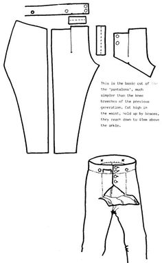 Napoleonic or regency pantalons / breeches pattern 18th Century Clothing, 18th Century Fashion, Historical Costume, Historical Clothing, Pattern Cutting, Pattern Making, Clothing Patterns, Sewing Patterns, 18th Century Costume
