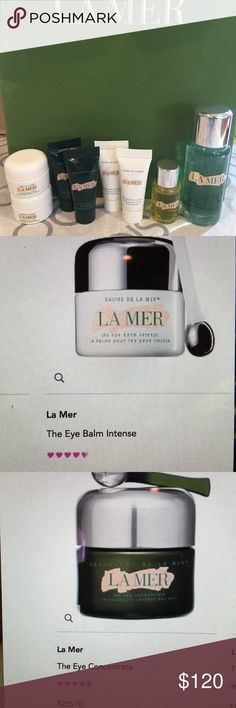La Mer Skin Care & Bag (New) La Mer Skin Care (New/Unused/Unopened) Miniatures/Samples Featuring the products shown in pictures. Includes: (2) Moisturizing Cream 0.12 oz./3.5 ml, (2) Eye Concentrate .1 oz./3 ml, (2) Eye Balm Intense .1 oz./3 ml, (1) Renewal Oil 0.17 fl. oz. liq./5 ml, (1) Cleansing Gel 1 fl. oz. liq./ 30 ml & a La Mer Bag La Mer Makeup