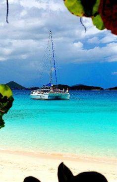 champagne catarmaran cruise from St. Thomas to Honeymoon Beach in St. John, snorkeling