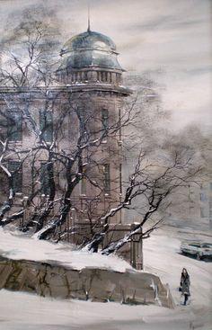 Снег на Пушкинской. Владивосток. Картина Юрия Редозубова