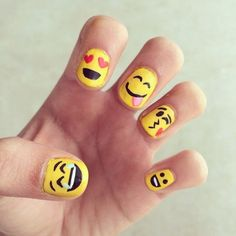 Wear Your Emotions on Your Hands With Emoji Nail Art Cute nails Love Nails, How To Do Nails, Pretty Nails, Emoji Nails, Do It Yourself Nails, Super Cute Nails, Nails For Kids, Cute Nail Art, Fabulous Nails