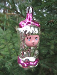 Soviet Xmas decoration. Russian Christmas toy glass GIRL. Soviet Christmas ornaments. Russian Soviet vintage. USSR Xmas home decor. 1970s