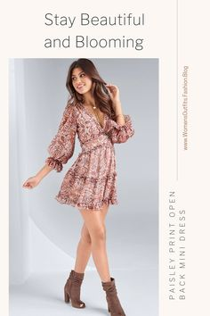 💥 PAISLEY PRINT OPEN BACK MINI DRESS - BOHEMIAN MINI DRESS OUTFIT We're crushing on the vintage bohemian look of this Paisley Print Mini Dress! In a pale warm print, this A-line silhouette features an open back and frills galore, making your festival-ready look more feminine than ever. #Fashion #bohodress #outfit #womenswear #womensclothing #clothing #clothes #shoppingonline #chic #apparel #shopping #dresstoimpress Bohemian Look, Vintage Bohemian, Women's Fashion Dresses, Dress Outfits, Clothing Deals, Fashion Today, Lovely Dresses, Paisley Print, Boho Dress