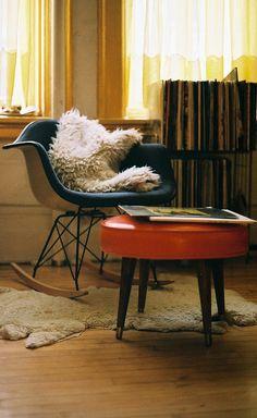Cozy corner, #Eames rocker and retro orange ottoman