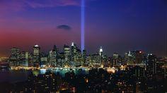 """Tribute in Light"",9/11 memorial display,NYC harbor - http://imashon.com/travel/tribute-in-light911-memorial-displaynyc-harbor.html"