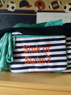 "Thirty One Swim time Orange on Navy Wave ""sink or swim""  cute for a swim bag"