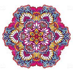 Mandala decorativa cor vetor e ilustração royalty-free royalty-free