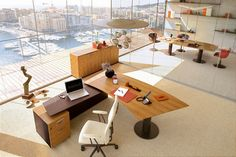 This pin is from our latest article sharing awesome tips on how to create an eco…, - boss office interiorDemo Used Cubicles, Eco Friendly Environment, Cool Office Desk, Used Office Furniture, Interior Windows, Office Interiors, Contemporary Furniture, Modern Interior, Boss