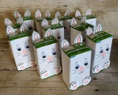 Easter School Treats Part 3 for Twoie's Classmates. (Juice boxes covered with copy paper and decorated like bunnies.)