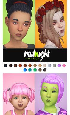 Midnight Hair, Half Bun, Pepper Color, Sims 4 Mm Cc, Color Tag, Blue Texture, Yellow Hair, Toddler Hair, Vintage Glamour