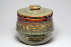 small ceramic pottery jar with lid sugar bowl by DrostePottery