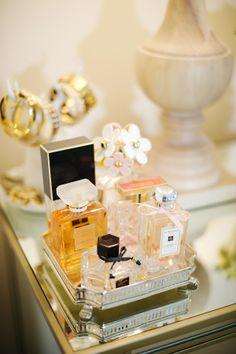 Vanity love- Perfume display Style At Home: Monika Hibbs Of The Doctor's Closet Perfume Display, Perfume Tray, Perfume Bottles, Perfume Storage, Perfume Organization, Vanity Organization, Perfume Fragrance, Dior Perfume, Hermes Perfume