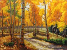 Autumn Road 30x40 Original LARGE Oil Painting Impressionism Fall Autumn Aspens Birch trees by Carl Bork on Etsy, $750.00