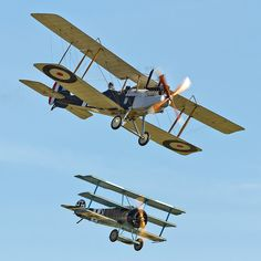 Fokker Dr.I and Royal Aircraft Factory R.E.8  #biplane #WW1