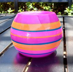 Popsicle colors in translucent polymer clay overlayed on covered crystal sphere votive candle holder via Etsy