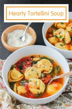 Hearty Tortellini Soup - a satisfying vegetarian meal filled with cheese tortellini, diced tomatoes, green beans, spinach and chickpeas! @produceforkids