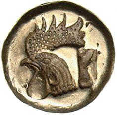 Hekte (1/6 statere) - Elektron - Mitilene, Grecia (ca.500-480 a.C.) - Testa di gallo in incuso - Münzkabinett Berlin
