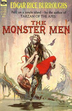 The Monster Men, by Edgar Rice Burroughs  Ace F-182, 1963  Cover art by Frank Frazetta
