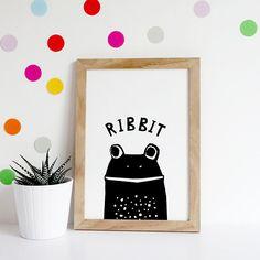 Frog Print Monochrome Nursery Print Baby Boy Gift