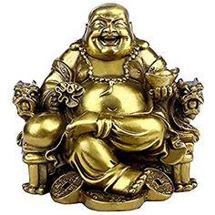 en forme de Bouddha Maitreya rieur BS085 assis sur une fleur de lotus Dusky Seaside Sparrow Figurine d/écorative Feng Shui en laiton statue de d/écoration dint/érieur