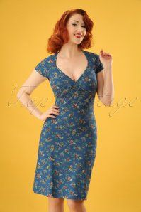 Gina Madelin Dress Années 60 en Bleu Palais