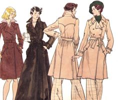 Vintage 1970s Vogue Double Breasted Belted Trench Coat Sewing Pattern