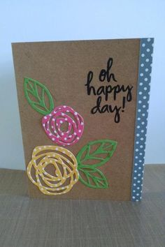 Oh Happy Day Card by MeganBeth using our #BoldBlooms stamp set. #EssentialsbyEllen #MixItUpChallenge @Lawn Fawn
