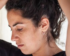 Ruby earrings Solid gold earrings 14k gold earrings Boho | Etsy