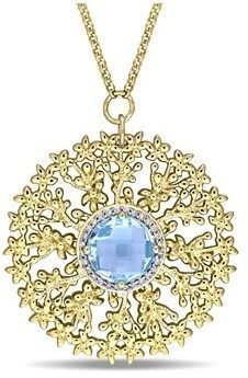 Laura Ashley Diamond And Blue Topaz Necklace With Chain.