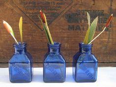 Cobalt Blue Glass Ink Bottles