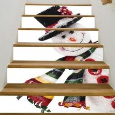 Christmas Snowman Pattern Stair Stickers