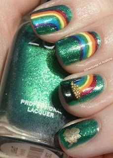 St. Patty's Day Pot of Gold Rainbow nails? I am not generally a fan of the colored nail craze (I admire from afar!), but I like these!