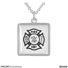 FIRE EMT STERLING SILVER NECKLACE Metal Necklaces, Sterling Silver Necklaces, Paramedic Gifts, Firefighter Emt, Emergency Medical Technician, Black Fire, Dog Tag Necklace, Chain, Accessories