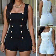 new fashion 2016 casual regular Gold Buttons rompers womens short jumpsuit sexy sleeveless zip one piece white bodysuits black Classy Outfits, Stylish Outfits, Cute Outfits, Party Outfits, Rompers Women, Jumpsuits For Women, Black Romper, Overall Shorts, Mode Rockabilly