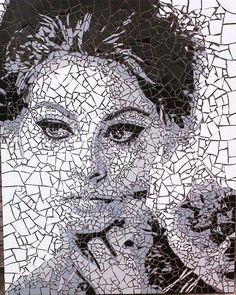 Sophia Loren mosaic #sophialoren #italian #mosaic #mosaicart #art
