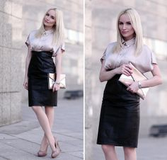 High-waisted leather skirt, silk button-up blouse, nude pumps.