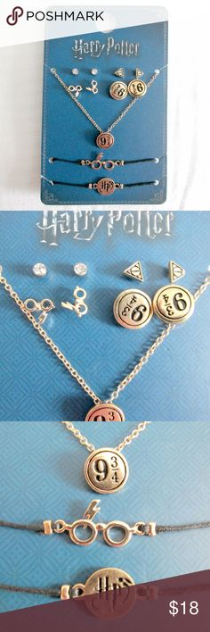 Harry Potter Earrings Necklace Bracelet Bundle ***Firm Price***  Cute 7 piece set for the all the Harry Potter fans.  You get 4 pairs of stud earrings, 1 necklace, 2 bracelets.  Condition: NWT Type: Jewelry Style: earrings, necklace bracelet Brand: Harry Potter Color: Gold Black Materials: Gold metal alloy, glass, treated rope/string  DD0.5:201711281207:7:006H Harry Potter Jewelry Earrings