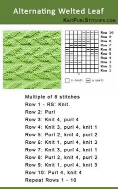 How to knit the Alternating Welted Leaf stitch. Pattern includes written instructions and chart