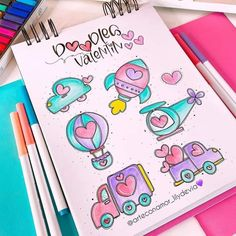 Cute Easy Drawings, Mini Drawings, Colorful Drawings, Bullet Journal Writing, Bullet Journal Layout, Book Journal, Cute Doodle Art, Cute Doodles, Diy Agenda