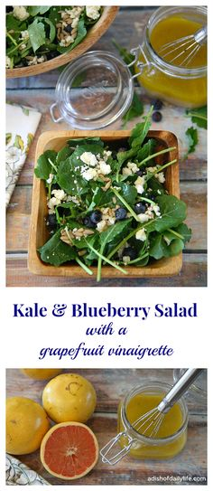 A delightful combination of kale, blueberries, feta, and sunflower seeds, tossed with a grapefruit vinaigrette...the perfect combination of tart and sweet! Gluten free, vegetarian and can be made vegan by removing the feta and substituting another sweetener for the honey in the dressing.