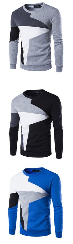 Men's Casual/Daily Simple Color Block Patchwork Round Neck Cotton Polyester Long Sleeve Fall Sweatshirt