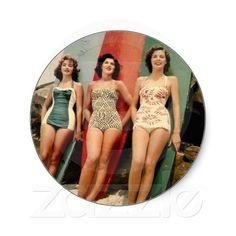 Rétros vêtements de bain vintages des femmes 60s 3 autocollant rond