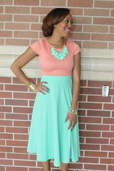 Mint Circle Midi Skirt from The Modest Lady Boutique