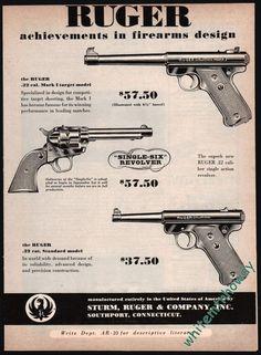 1953 RUGER Mark I and Standard Pistol, Single-Six Revolver AD woriginal /prices #Ruger