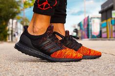 OTF look at the Ultra Boost House Targaryen Dragons, droppi. Red Sneakers, Casual Sneakers, Sneakers Fashion, Adidas Sneakers, Dope Fashion, Adidas Joggers, Adidas Men, Cosplay Boots, Adidas Boost