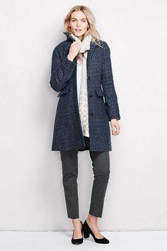 Women's Tweed Wool Car Coat from Lands' End